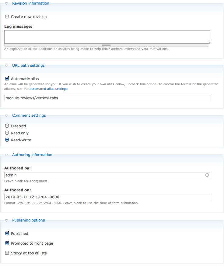 Drupal 6 default form fieldsets