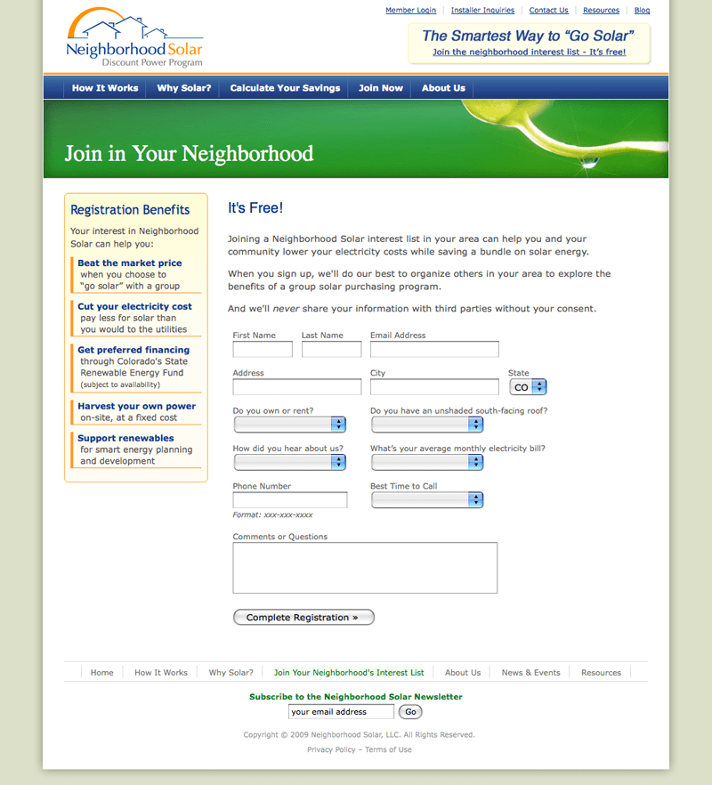 Neighborhood Solar Registration